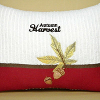 Autumn Accent Pillow Thanksgiving Harvest Leaves Acorns Green Mustard Brown Red Beige Decorative Repurposed 8x12