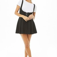 Lace-Up Pinafore Dress
