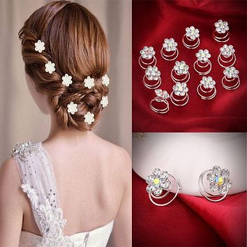 12PCS Hairpins Twist Coils Hair Spin Pins Bridal Wedding Prom Crystal Rhinestone Hair Clips Headwear Jewelry Hair Accessories