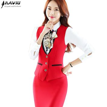 Fashion Vest skirt suits set women work wear 2018 new business formal slim red vest and skirt office ladies plus size uniforms