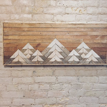 Reclaimed Wood Wall Art, Wall Decor, Lath, Geometric, Mountains, Gradient