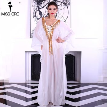 Missord 2017 Sexy V-neck thin irregular sleeve see through sequin beach shawl maxi dress FT8241