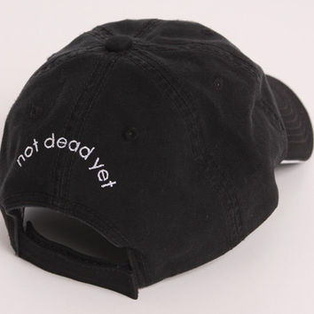 """ndy """"NOT DEAD YET"""" Black Cap with ndy Logo, Giftwrapped, from ndy Not Done Yet"""