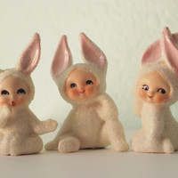Vintage Lefton Snow Bunny Babies Easter