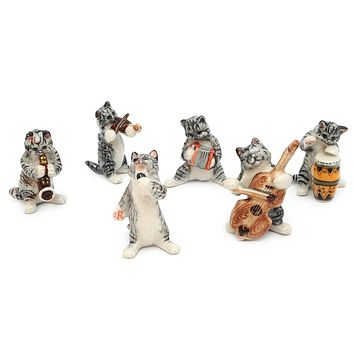 Tabby Cat Music Band Handmade Ceramic Figurine Miniature Decor/Animal Collection