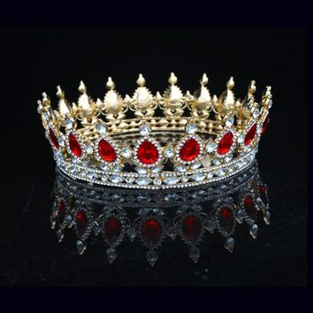 Sparkling Crystal Vintage Baroque Queen King Crown For Women Prom Bridal Tiara Crowns Wedding Bride Hair Jewelry Accessories