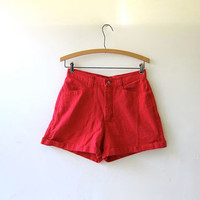 vintage red shorts / high waisted shorts / cuffed shorts