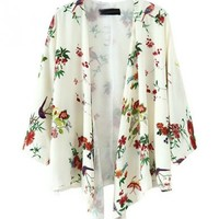 All-Over Floral Print Coat with Open Front