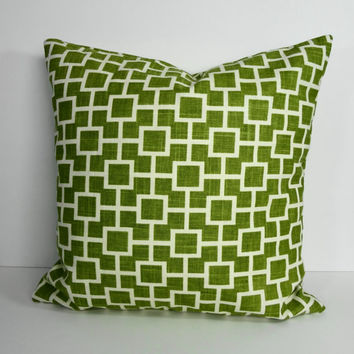 Olive Green Decorative Pillow Cover, Throw Pillow Cushion, Cats Cradle, Robert Allen