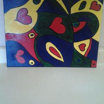 "Orginal Abstract Art Acrylic Painting Handmade on Wrapped Canvas with Wood Framing 16x20"" Fun w/Shapes"