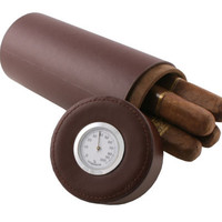 Lure Brown Leather Travel Cigar Case with Hygrometer
