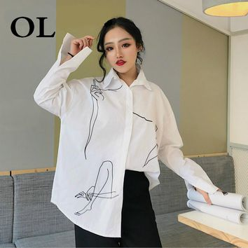 [OL] Hand Drawing White Shirt Loose Tops Big Sizes Spring Women Clothing Turn-down Collar Casual Blouse And Shirt A489