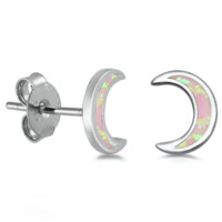 .925 Sterling Silver Moon Crescent Pink Fire Opal Ladies Stud Earrings