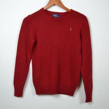 LMFIW1 Vintage Red Polo Ralph Lauren Knitted Sweater