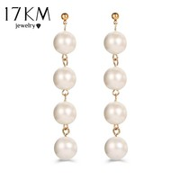 17KM Brinco Simulated Pearl Earrings For Women Statement Jewelry Mujer Boucle D'oreille New Fashion Long Tassel Drop Earring