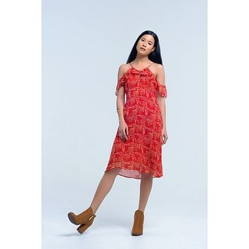 Red Round Neck Floral Print Day Dress