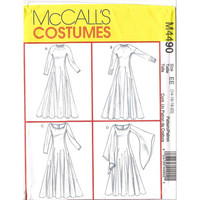 McCall's Costumes Sewing Pattern M4490 Renaissance Fair Medieval Gown Dress Draped Sleeves Gusset Historical Fashion Size Large XL