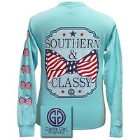 SALE Girlie Girl Originals Southern Classy USA Bow Comfort Colors Lagoon Blue Long Sleeves T Shirt