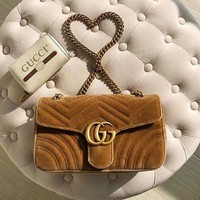 GUCCI High Quality Fashion Women Shopping Leather Velvet Metal Chain Crossbody Satchel Shoulder Bag Brown