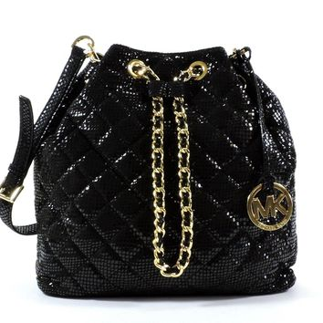 MICHAEL Michael Kors Frankie Quilted Large Convertible Shoulder Bag (Black)