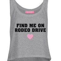 FIND ME ON RODEO DRIVE BEACH TANK