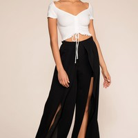 Waverly Breeze Front Slit Pants - Black