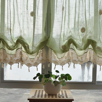 French Country Green Lace Crochet Balloon Shade Austrian Sheer Voile Cafe Kitchen Curtain