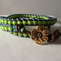 WrapLet Lime Green with Leather Beaded Bracelet by StarBurstJewels