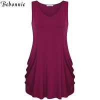 New Summer Style Tank Top Long Style V-neck Sleeveless Tunic Tops Side Fold Ruched Elastic Knit Top Tees Casual Soft Top Female
