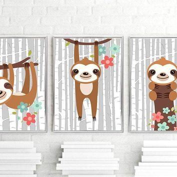 SLOTH Wall Art, Sloth Nursery Decor Sloth Canvas or Print Sloth Baby Girl Nursery Decor, Sloth Playroom Pictures, Set of 3 Sloth Lover Gift