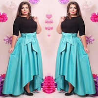 2016 Women Sexy Irregular Long Sleeve O-neck Cocktail Maxi Party Dress Plus Size