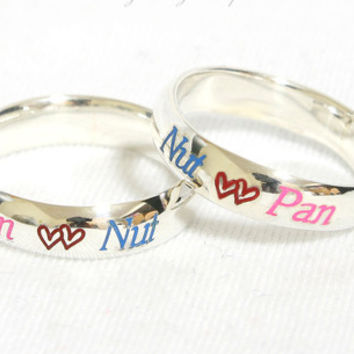 4mm Personalized Ring Engraved Ring .925 Sterling Silver Engraved with Color Character Curve Ring Circle Ring (2)