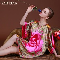 RB027 Big Plus Size Woman Robes Nightgown for Women Bathrobe Stain Silk Sleepwear Nightdress Indoor Home Clothing