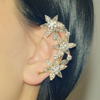 Leaf ear cuff - Rose gold - Crysyal - Bohemain - Punk style - Halloween - Prom earrings - left ear non pierced earrings