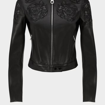 Versace Baroque Embroidered Leather Jacket for Women | Official Website