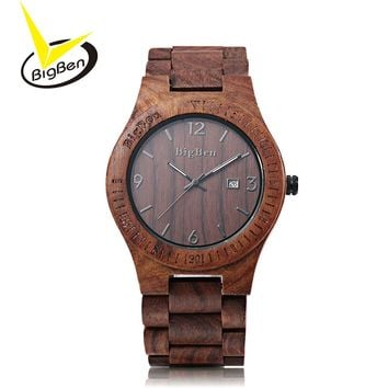 2017 BigBen Bewell Luxury Analog Natural Wood Watch