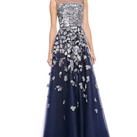 Oscar de la Renta Petal-Embroidered Tulle Gown, Navy