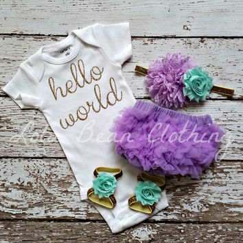 Baby Girl Take Home Outfit Newborn Baby Girl Hello World Bodysuit Lavender Bloomers Lavender & White Mint Headband Sandals Set