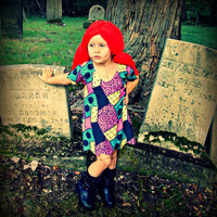 Nightmare Before Christmas cosplay costume dress Sally Stitches patchwork baby toddler or girls