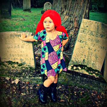 Nightmare Before Christmas cosplay costume dress Sally Stitches patchwork baby toddler