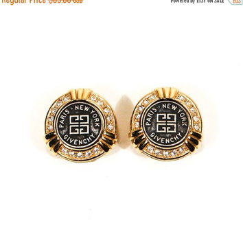 ON SALE Givenchy Couture Logo Earrings, Gold, Rhinestones, Clip On, Designer, Vintage Jewelry