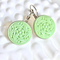 Mint Green Mosaic  Floral Round Drop Dangle Earrings - Lever Back Silver Round Earrings -  Round Earrings - Wedding, Bridal , Bridesmaid