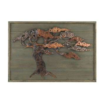 Wood & Metal Tree Wall Art Aged Green With Rust