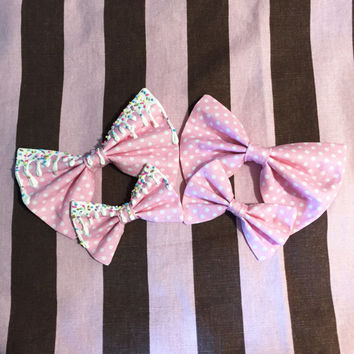 Kawaii Harajuku Fairy Pop Kei Pastel Goth Japanese Fashion Lolita Gyaru Decora Dolly Otome Pink Polkadot Hair Bow Tie