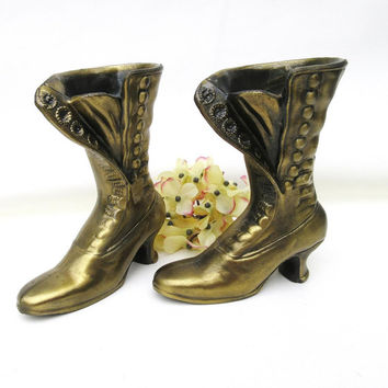 Antique Button Boots / Small Brass Shoe Vases / Victorian Boot Planters – Pair Ladies Boots