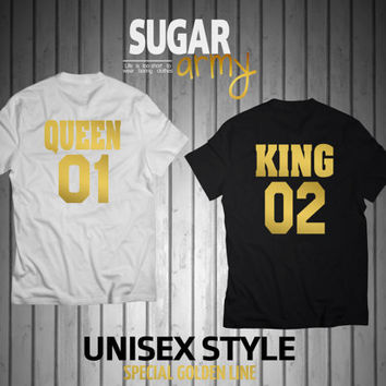 Queen 01 King 02, king queen shirts, queen and king shirts, king and queen shirts, Unisex tshirts, 100% cotton shirts