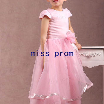 Jewel cap sleeves floor-length organza pink bow flower girl dress