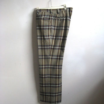 Vintage 1980s Mens Pants Taupe Plaid  Wool Tailored Mens Petit Trousers