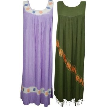 Mogul Womens Long Tank Dress Free Falling Hippie Chic Rayon Comfy Casual Maxi Dresses Wholesale Lot Of 2 - Walmart.com