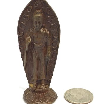 Buddha Tiny Miniature Standing Protection Pose Bronze Statue Dollhouse Fairy Garden 2.5H
